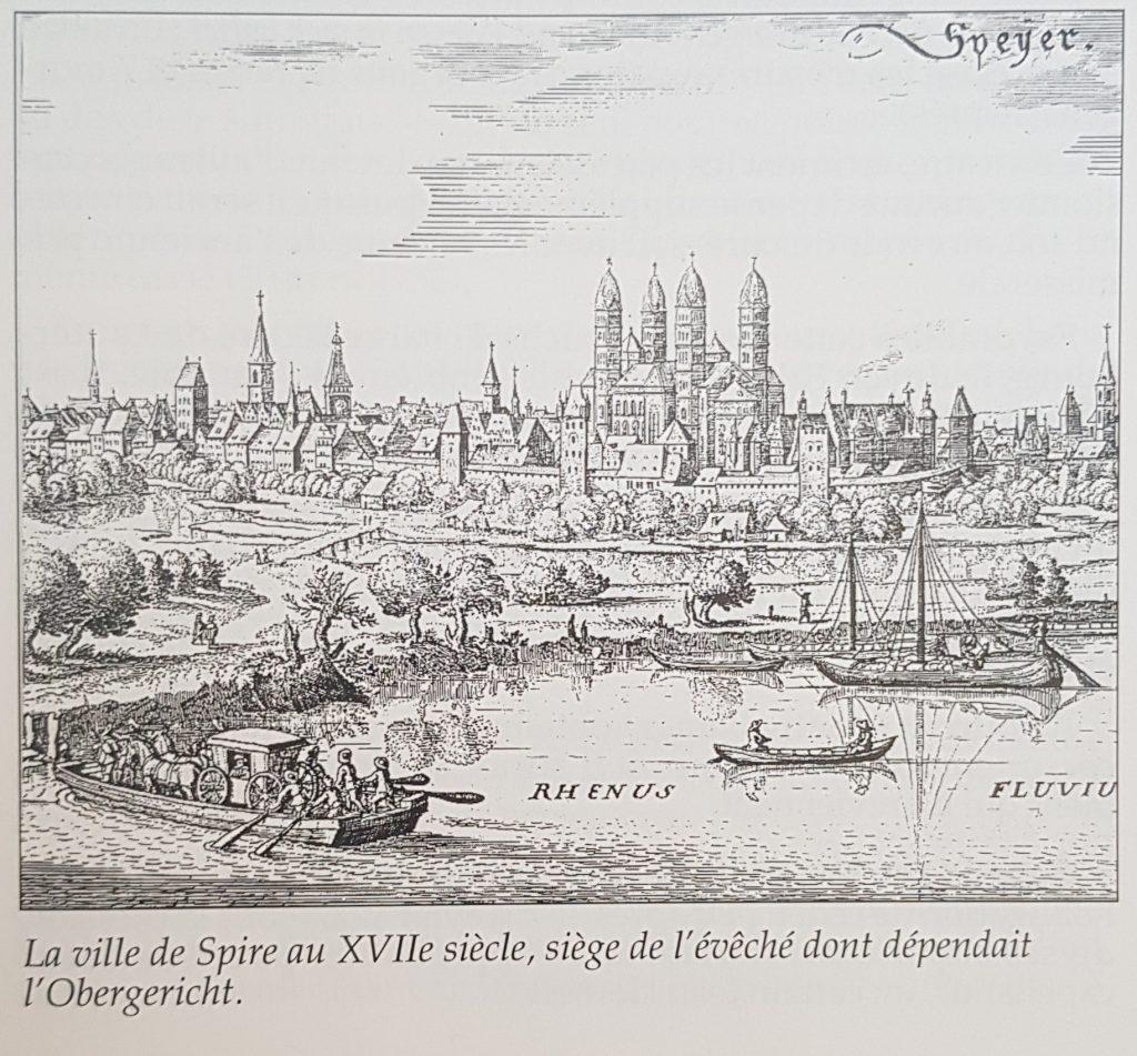 La ville de Spire au XVIIe siècle, siège de l'évêché dont dépendait  l'Obergericht.