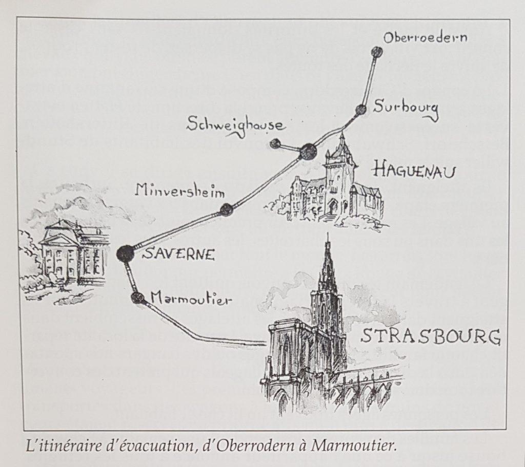 L'itinéraire d'évacuation, d'Oberrodern à Marmoutier.